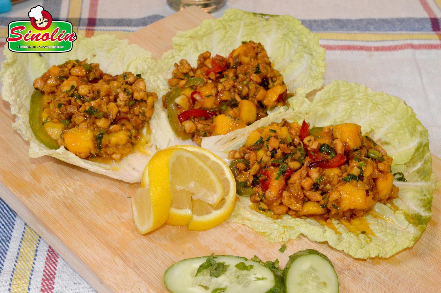 Minced Chicken Wrapped in Mango Lettuce Cups Recipe by Dapur Sinolin