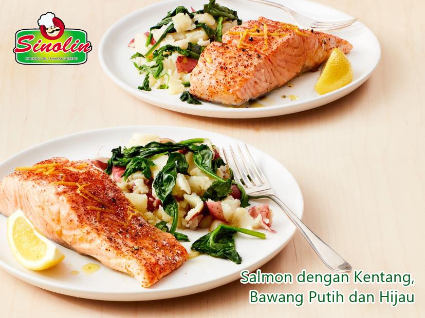 Salmon dengan Kentang, Bawang Putih dan Hijau oleh Dapur Sinolin
