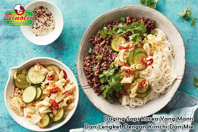 Daging Sapi Korea Yang Manis Dan Lengket Dengan Kimchi Dan Mie Oleh Dapur Sinolin