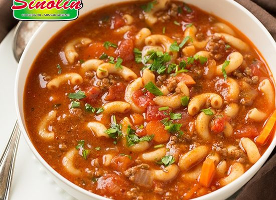 Sup Makaroni Daging Sapi dan Tomat oleh Dapur Sinolin