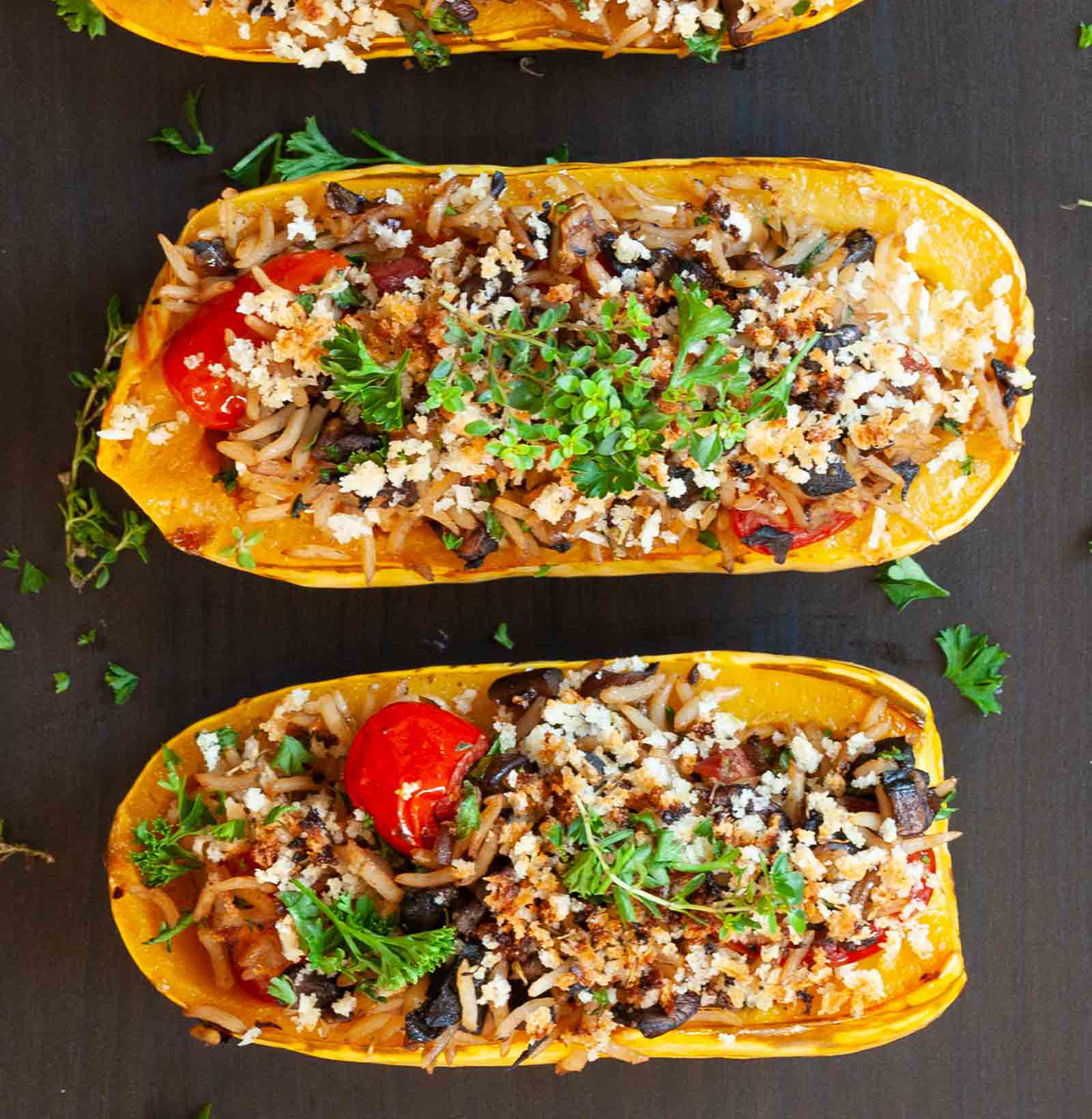 Stuffed Delicata Squash with Goat and Cheese by Dapur Sinolin
