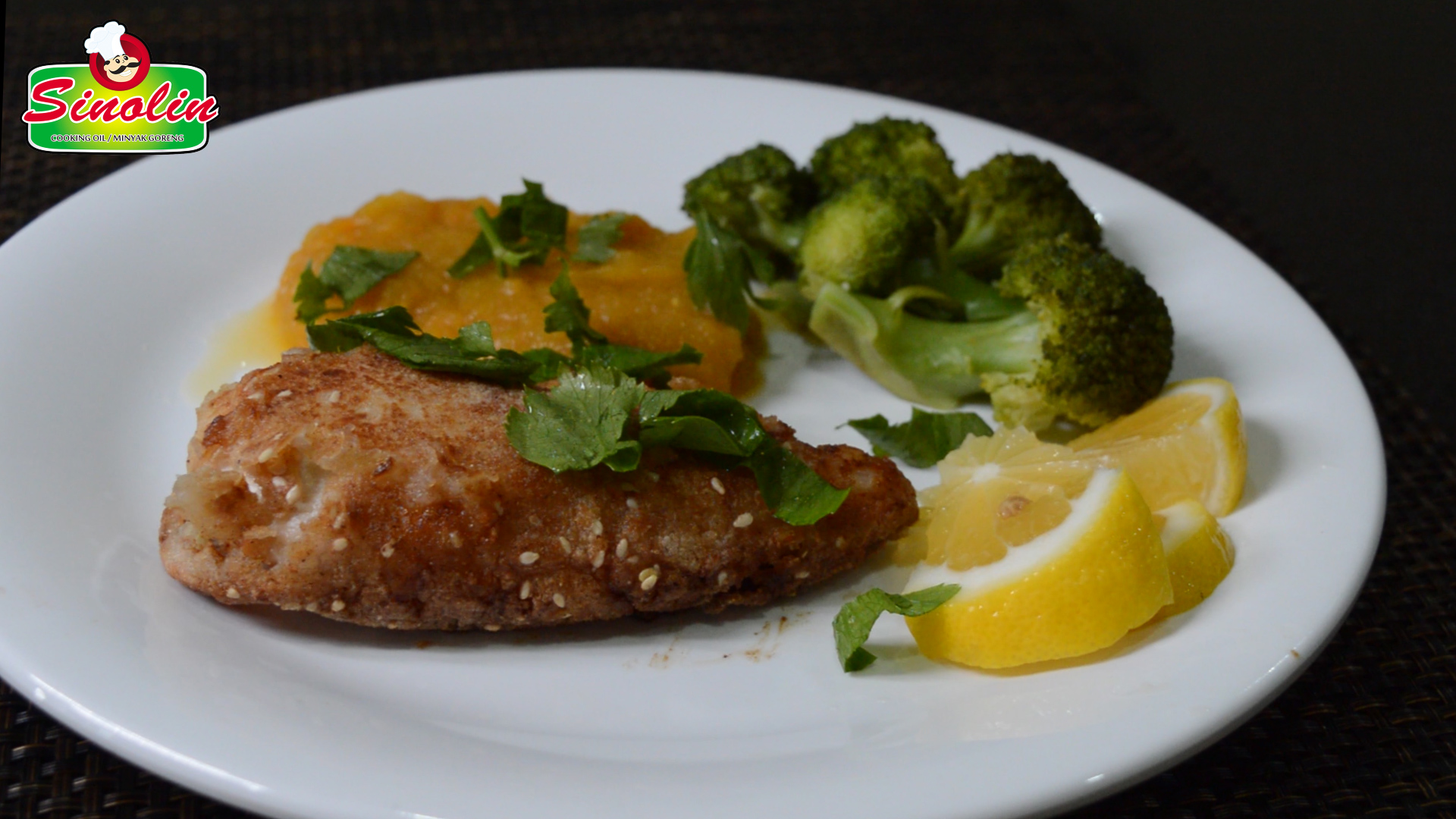 almond-crusted chicken with miso pumpkin mash by dapur sinolin