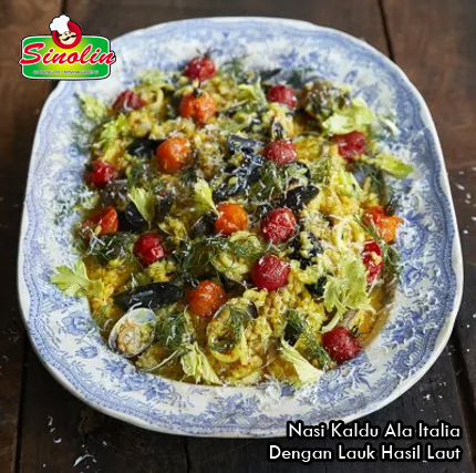 Resep Nasi Kaldu Ala Italia Dengan Lauk Hasil Laut oleh Dapur Sinolin