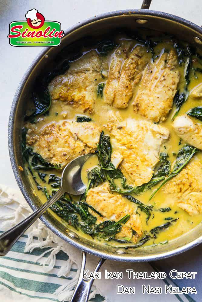 Kari Ikan Thailand Cepat & Nasi Kelapa oleh Dapur Sinolin