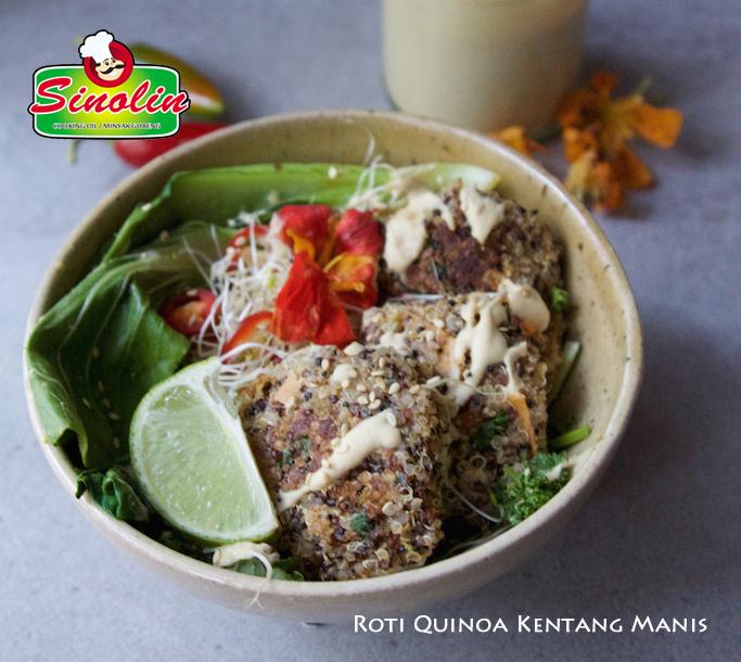 Roti Quinoa Kentang Manis + Saus Tahini Kacang Mentega oleh Dapur Sinolin