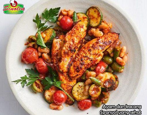 Ayam dan kacang Spanyol yang sehat oleh Dapur Sinolin