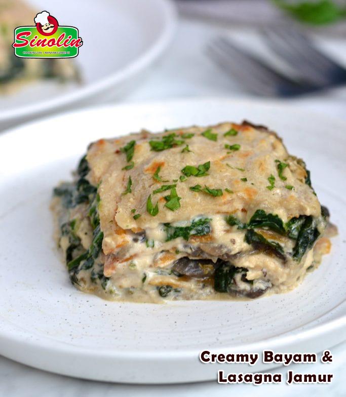 Creamy Bayam & Lasagna Jamur Oleh Dapur Sinolin