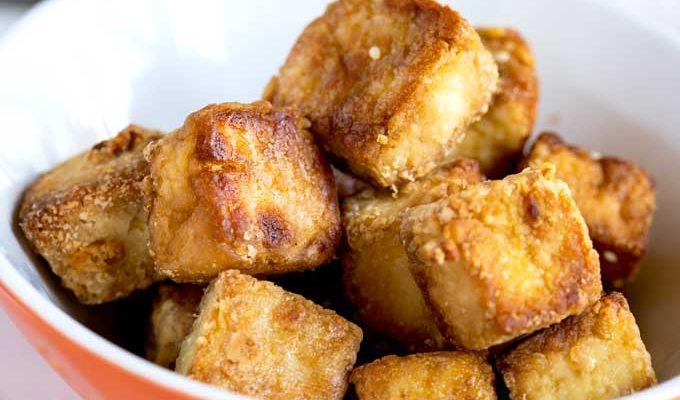 Crispy Baked Tofu with Peanut Dipping Sauce By Dapur Sinolin