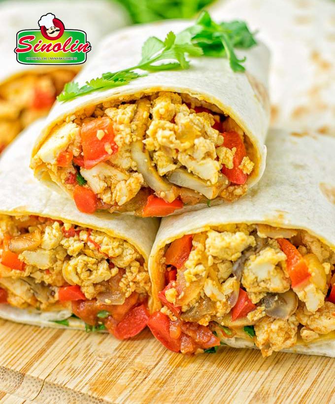 Burrito Sarapan Vegan Dengan Tahu Oleh Dapur Sinolin