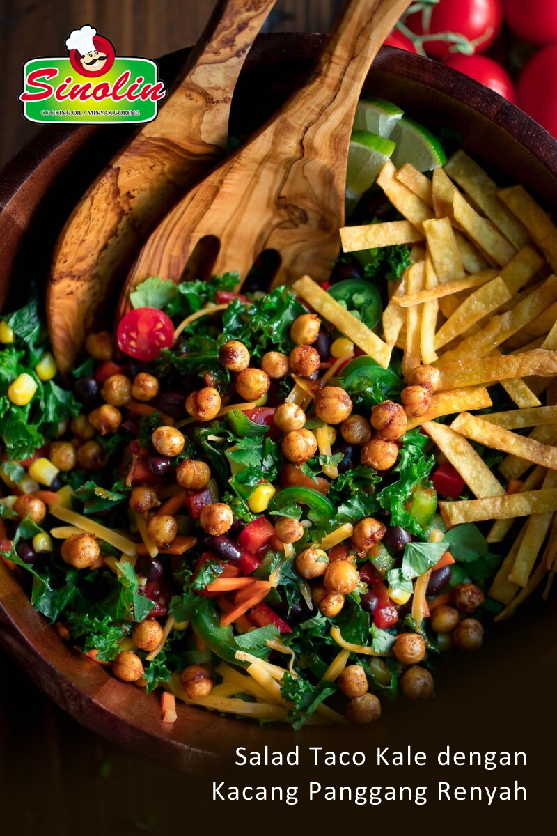 Kale Taco Salad with Crispy Roasted Chickpeas By Dapur Sinolin